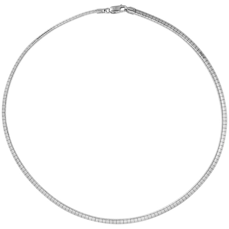 Sterling Silver Omega 4mm Necklace Chain Italian Italy