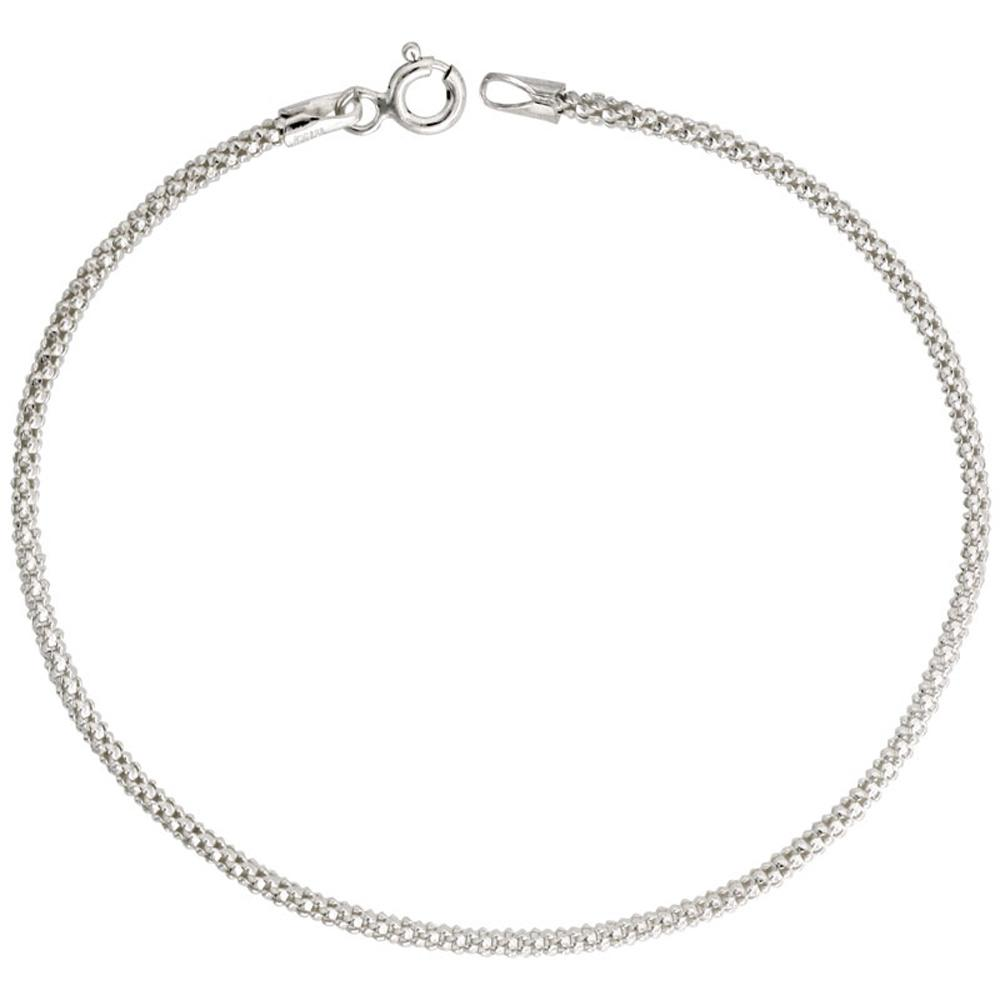 Sterling Silver Popcorn 1.3mm Necklace Chain Italian Italy