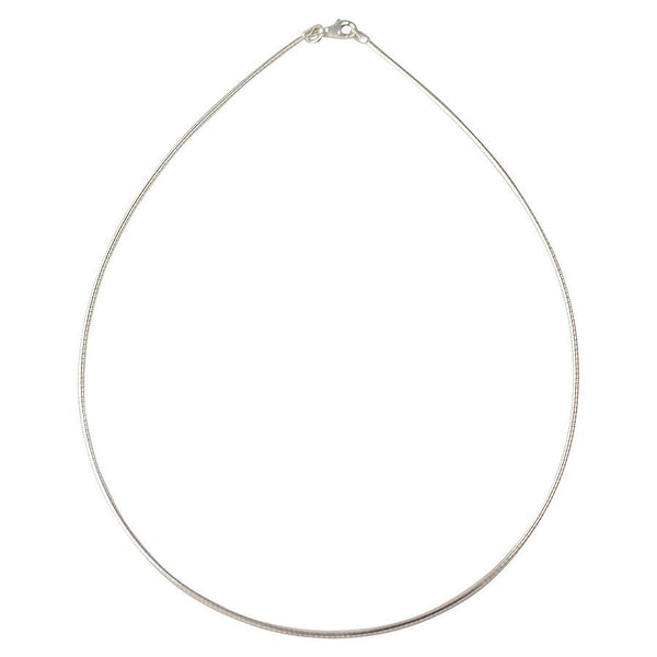 Sterling Silver Round Omega 1.5mm Necklace Chain Italian Italy