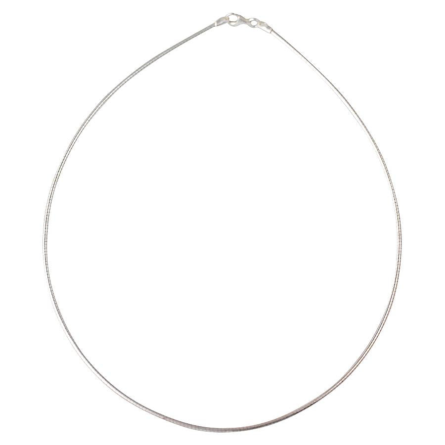 Sterling Silver Round Omega 2mm Necklace Chain Italian Italy