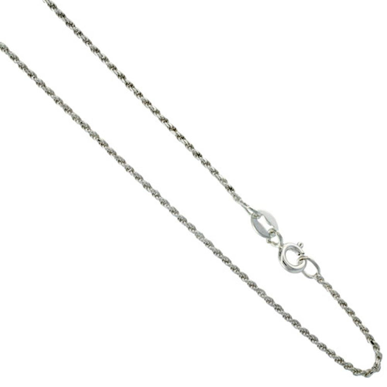 Sterling Silver Rope 1mm Necklace Chain Italian Italy