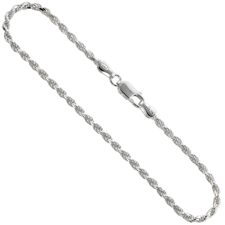 Sterling Silver Diamond Cut Rope 2.5mm Necklace Bracelet Anklet Chain Italian