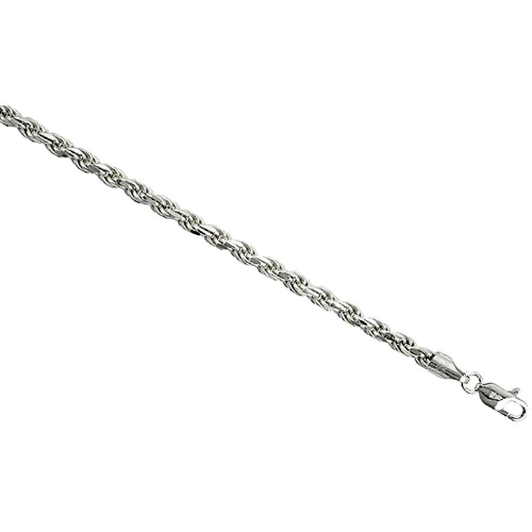Sterling Silver Diamond Cut Rope 4mm Necklace Bracelet Chain Italian