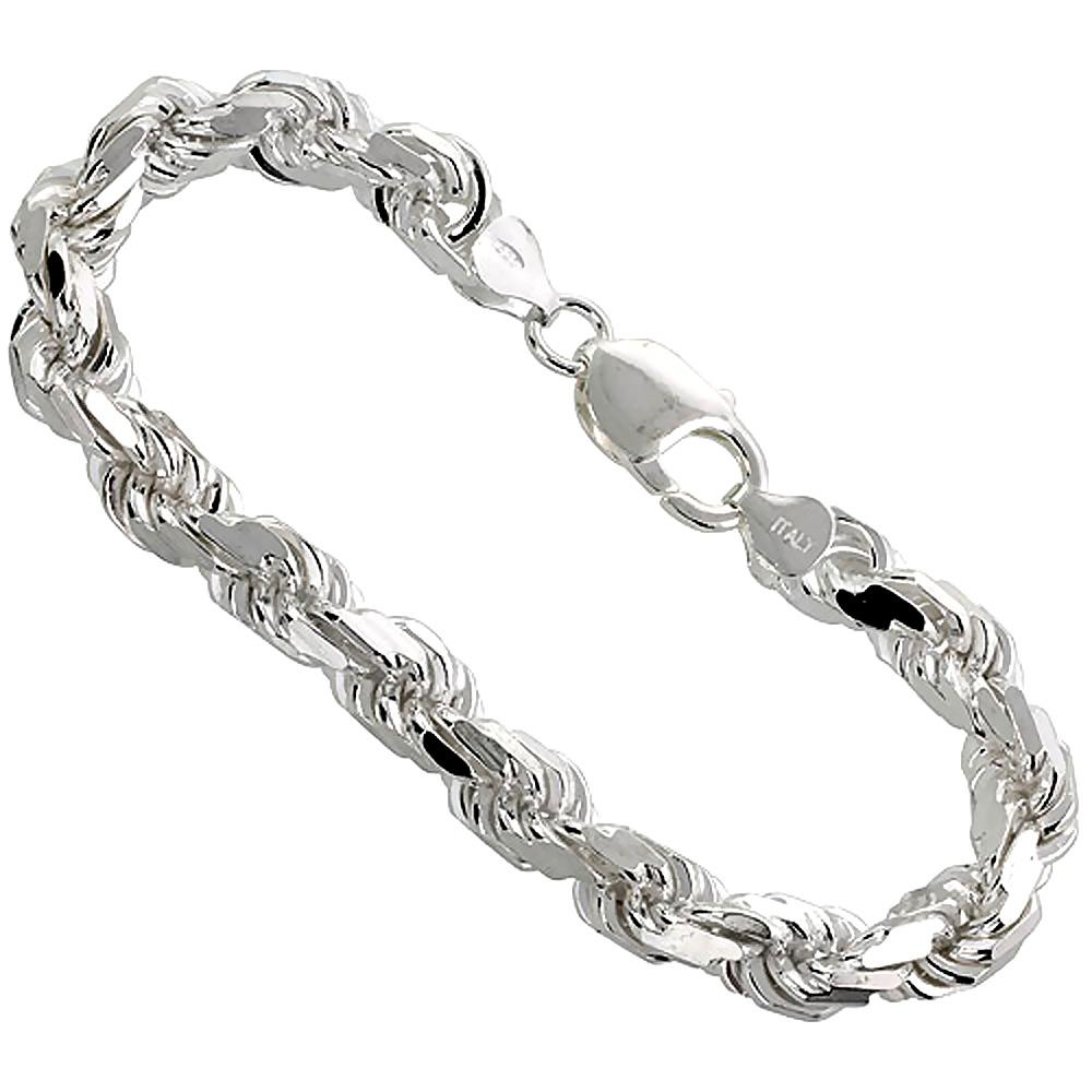 Sterling Silver Diamond Cut Rope 7mm Necklace Bracelet Chain Italian Italy