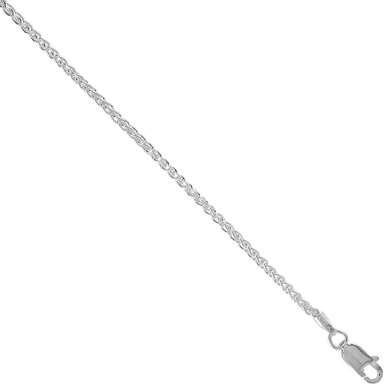 Sterling Silver Wheat Spiga 1.6mm Necklace Chain Italy