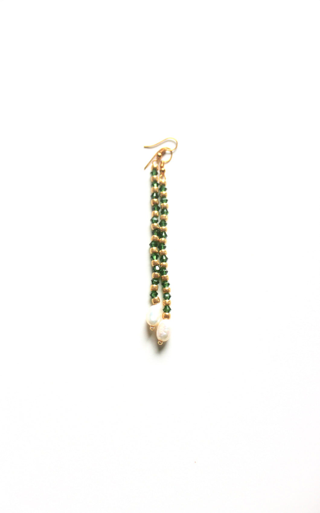 Droplet earring, swarovski green crystal and gold plated beads