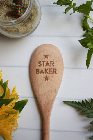 Star Baker Engraved Wooden Spoon