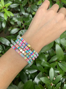 Heishi Bracelet with Gold Hexagons