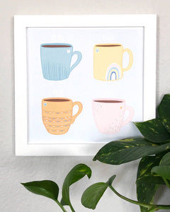Playful Coffee Mug Illustration Wall Art Print