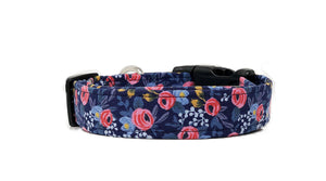 Iris Floral Dog Collar with Pink Roses