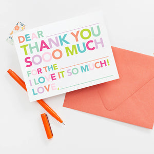 Kids Fill In Thank You Notes - pink