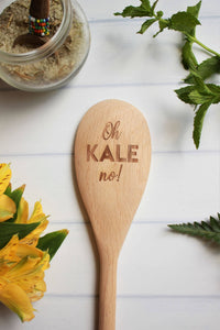 Oh Kale No Engraved Wooden Spoon