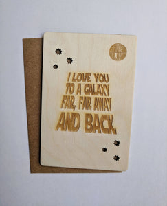 Love you to a Galaxy Wooden Greeting Card