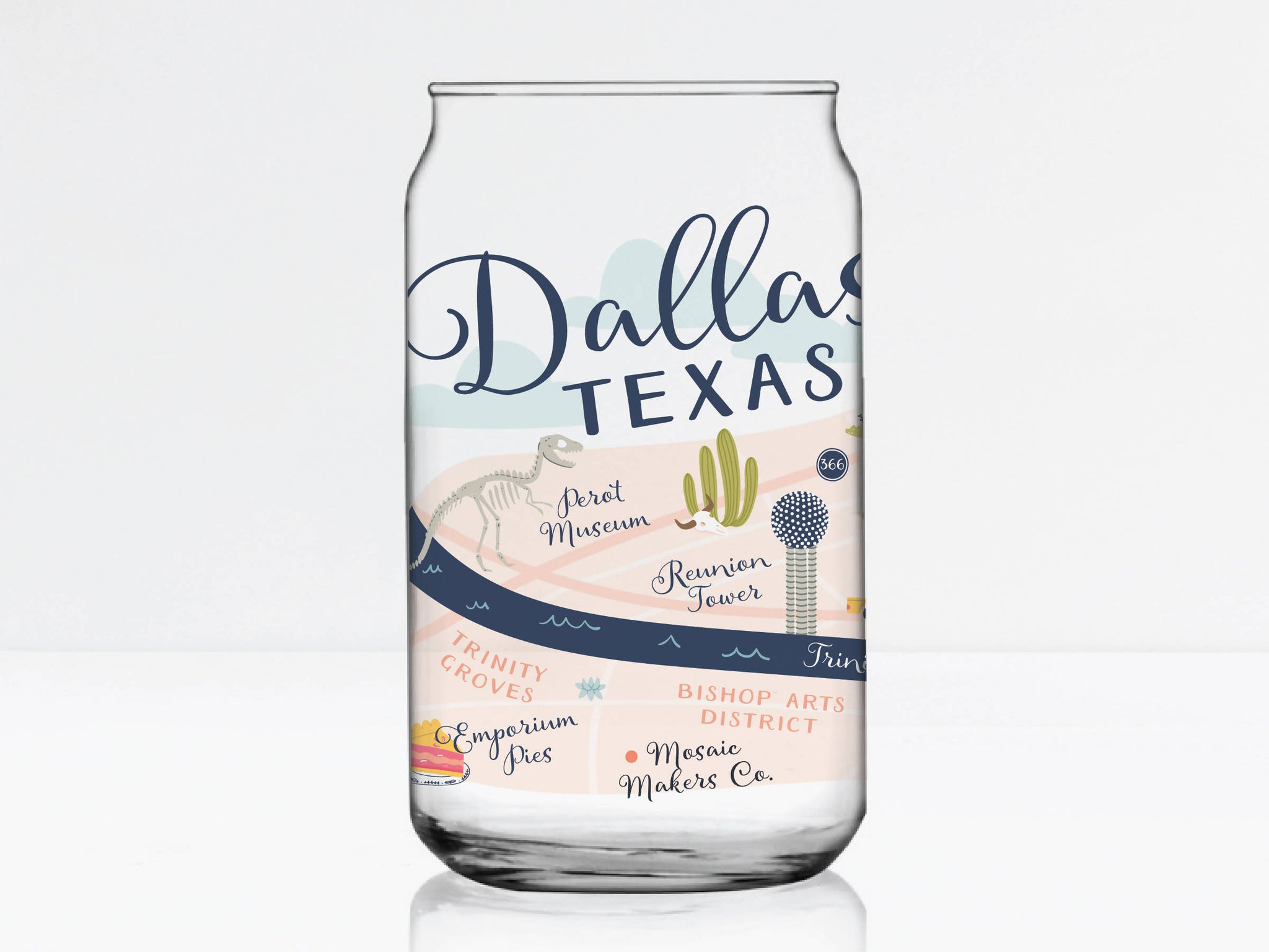 Dallas Map Can Glass
