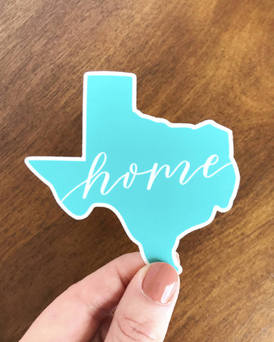 Teal Texas Home Sticker