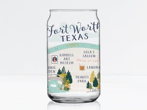 Fort Worth Map Can Glass