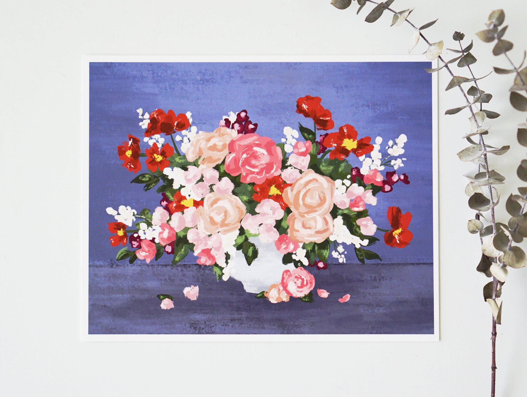 8x10 Floral Impressions in Blue