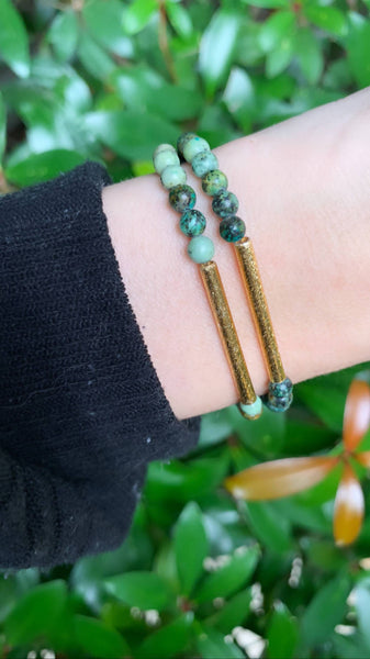 Small Africa Jasper Bracelet with Gold Bar