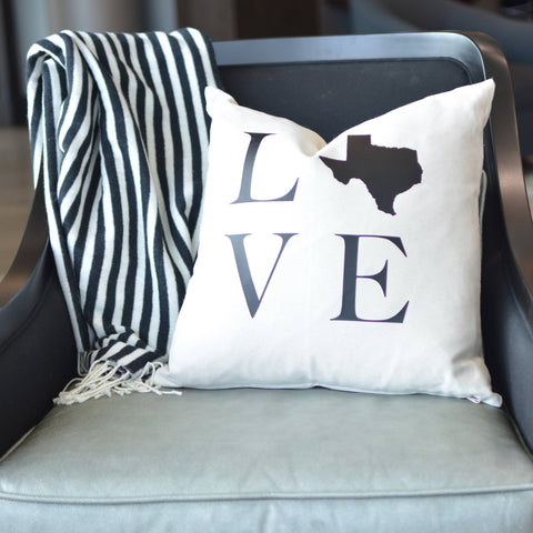 Texas LOVE Pillow Cover