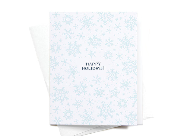 Happy Holidays Winter Snowflakes Greeting Card