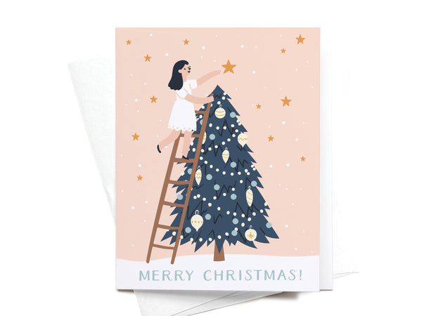 Girl Putting Star on Tree Greeting Card