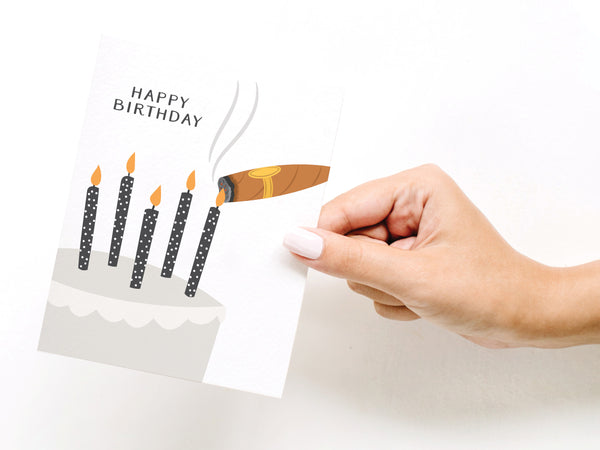 Happy Birthday Cigar Cake Greeting Card