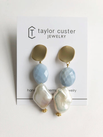 Blue Opal and Pearl Earrings