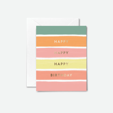 Gold Foil Striped Birthday Card
