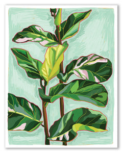 "Fiddle Leaf Close Up Print 11""x14"" Fine Art Print"