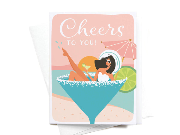 Cheers to You Martini Girl Greeting Card