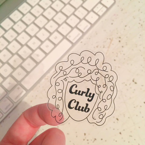 Clear Curly Club Sticker