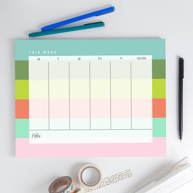 Weekly Notepad - Pastel