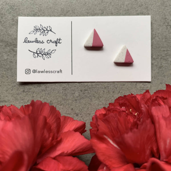 two tone pink clay studs