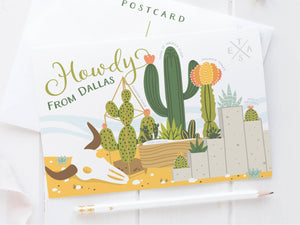 Dallas Succulent Skyline Postcard