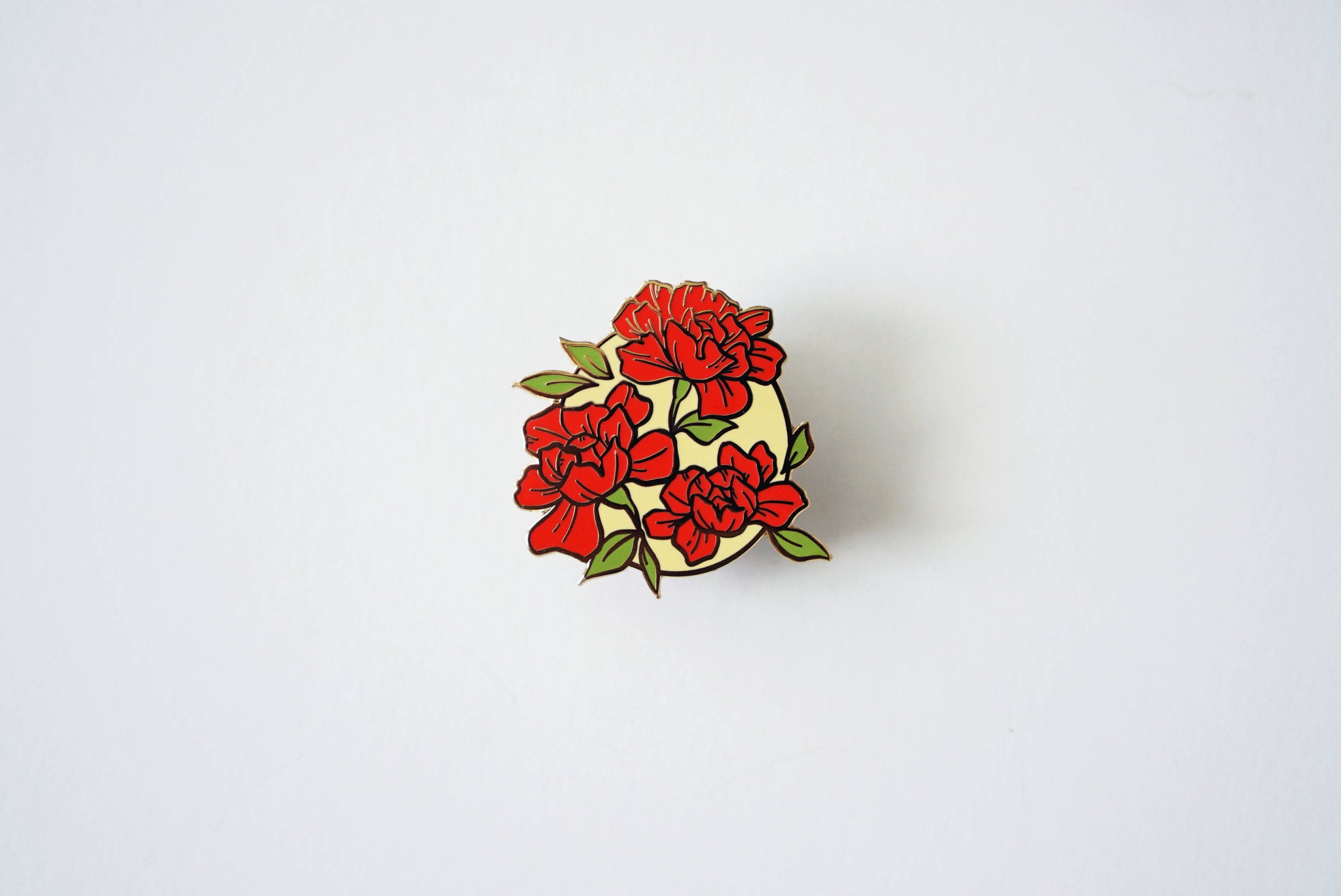 Red Floral Badge Pin