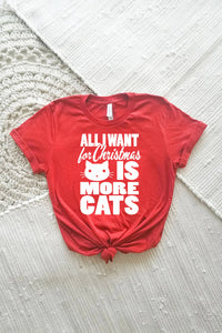 All I Want for Christmas is More Cats Adult Crewneck Tee