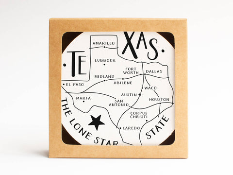 Texas Map Coaster Set