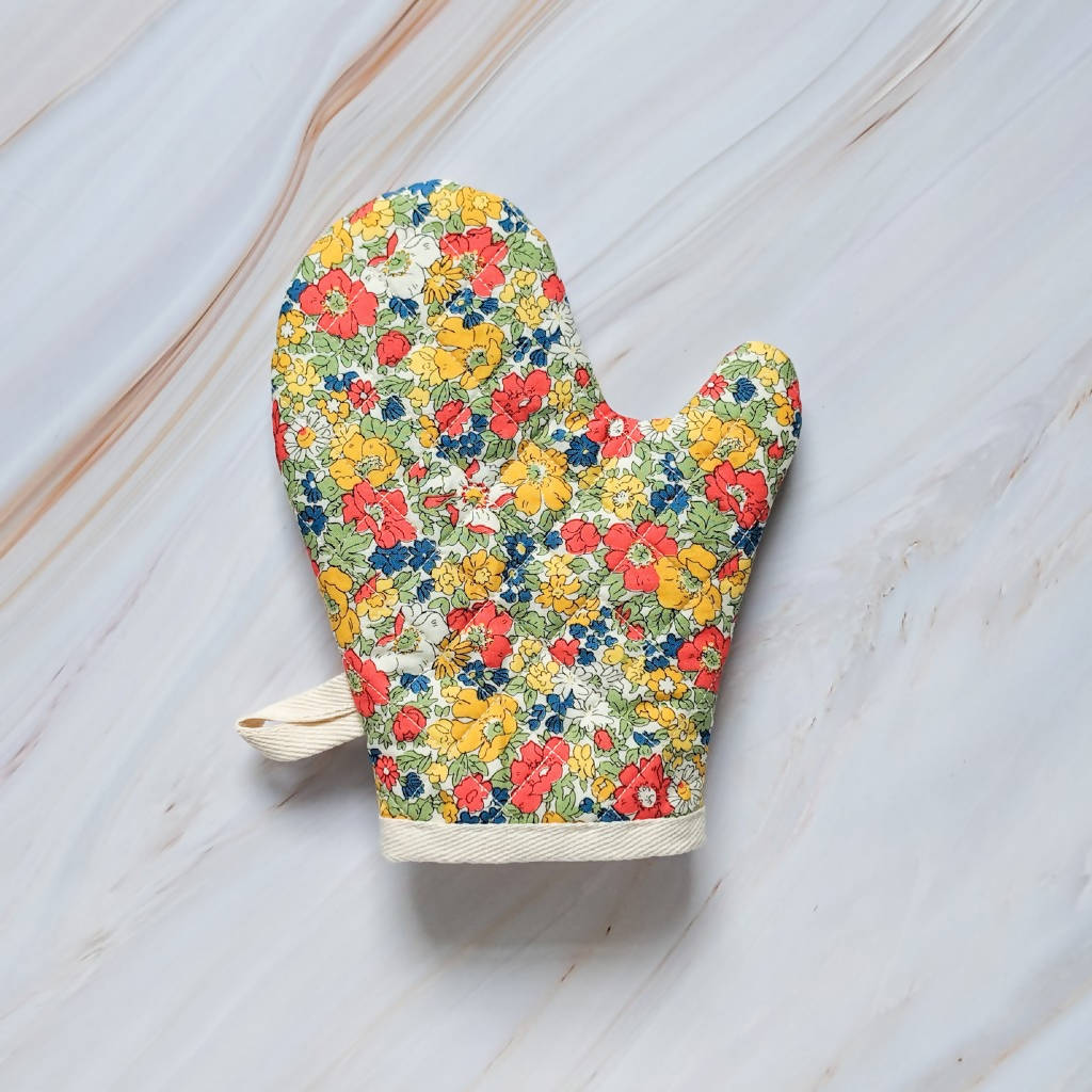 Cosmos Meadows Red Liberty of London Oven Mitt