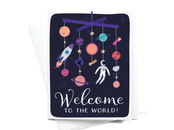 Welcome to the World Galaxy Greeting Card