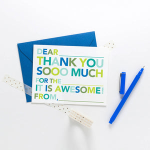 Kids Fill In Thank You Notes - blue