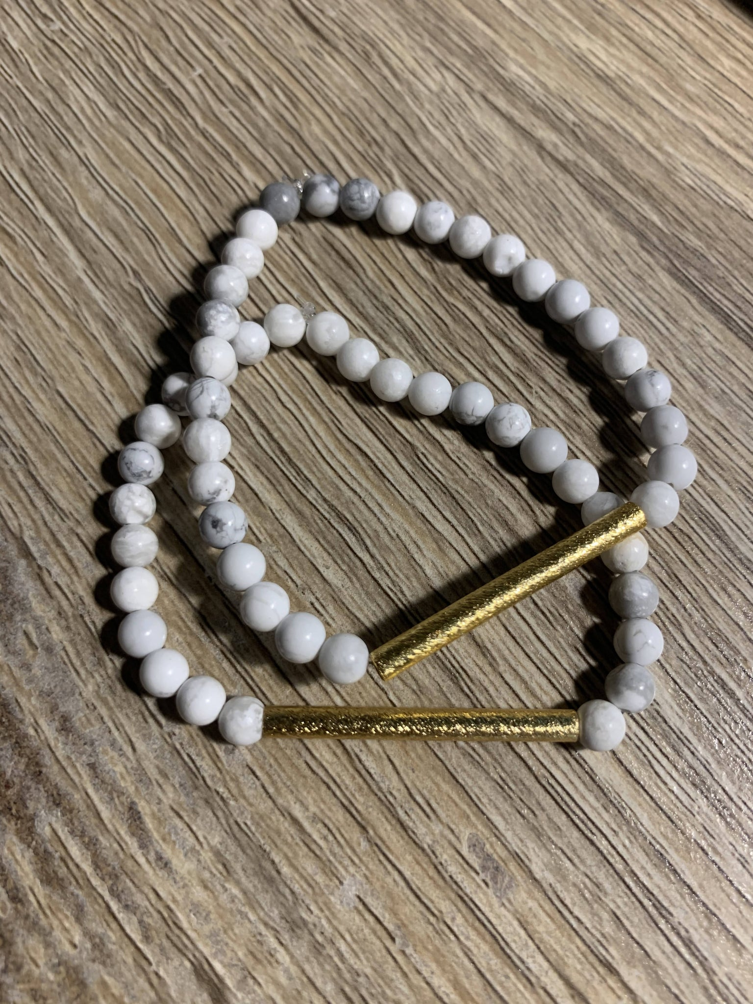 Small Howlite Bracelet with Gold Bar