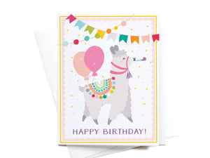 Happy Birthday Llama Greeting Card