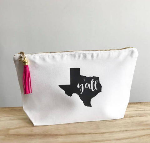 Texas Y'all Makeup Bag