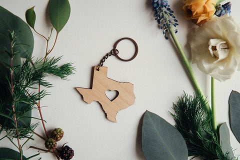 Texas Heart Keychain