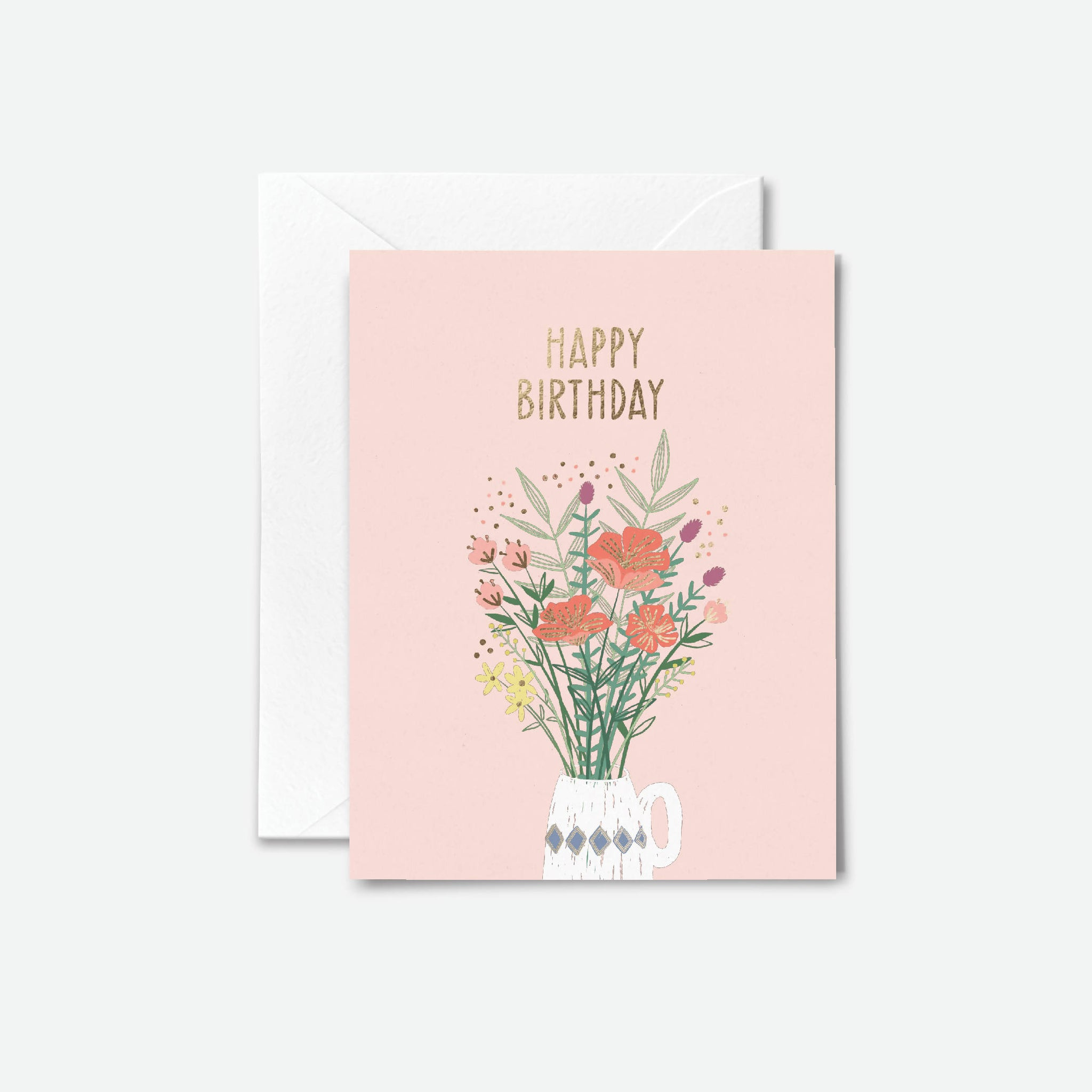 Gold Foil Floral Birthday Card