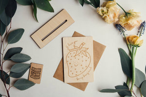 I love you Berry Much Wooden Greeting Card