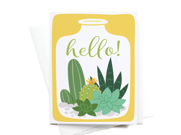 Hello Succulent Terrarium Greeting Card