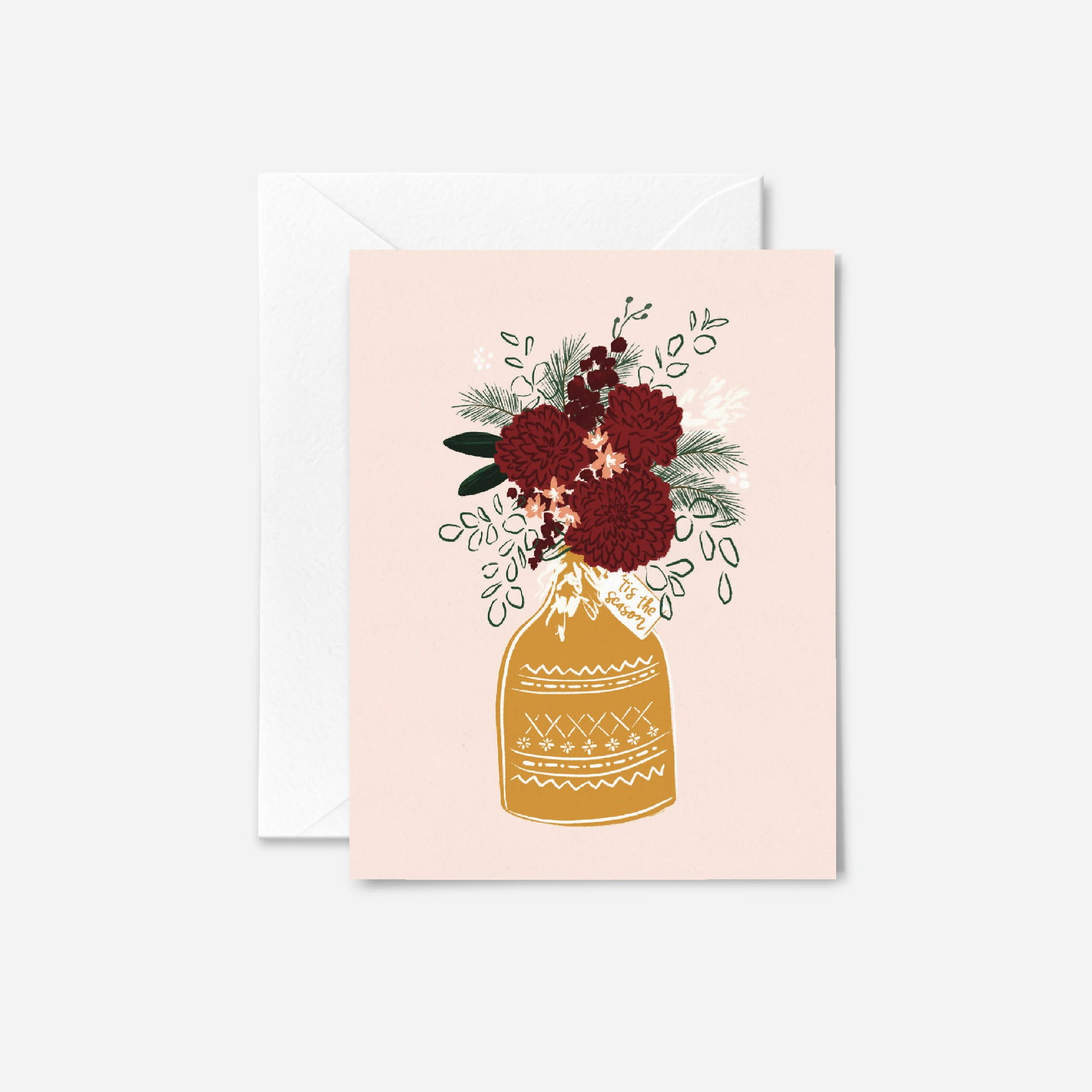 Wine Dahlias Holiday Card