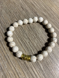 Howlite Bracelet with Gold Wavy Beads