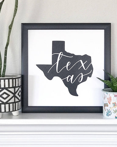 Modern Hand Lettered Texas Wall Art Print